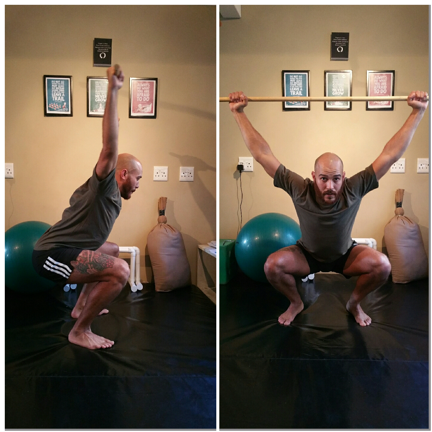 Note my depth isn't the same on the overhead squat vs the goblet squat because it is limited by my thoracic mobility... shows me my weakness, now i can work on it.