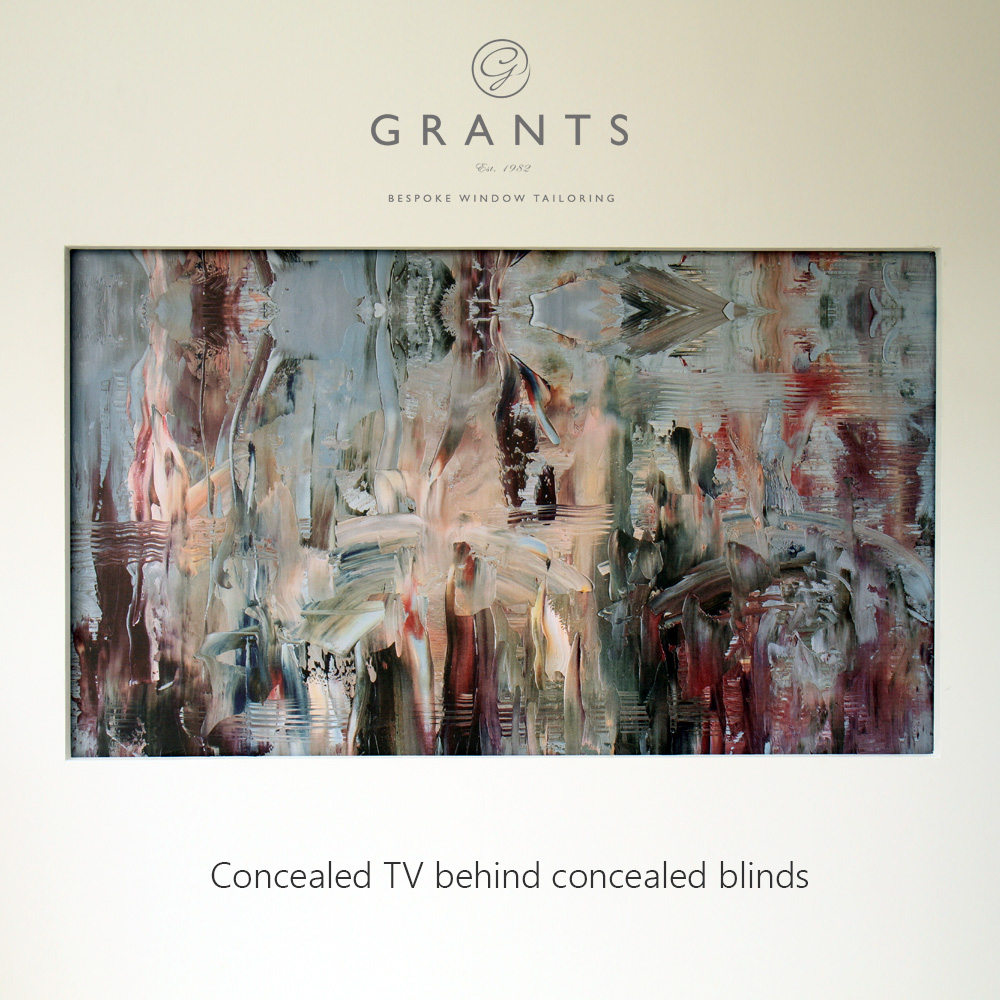 concealed tv behind blinds