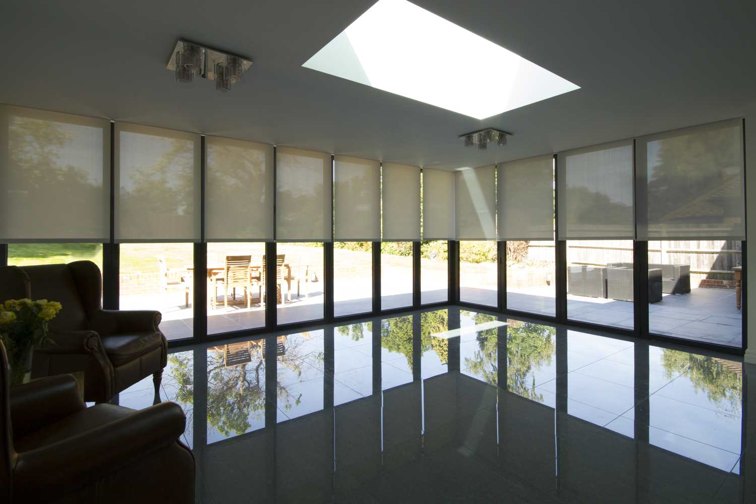 Stunning Electric Blinds in Surrey Kitchen -