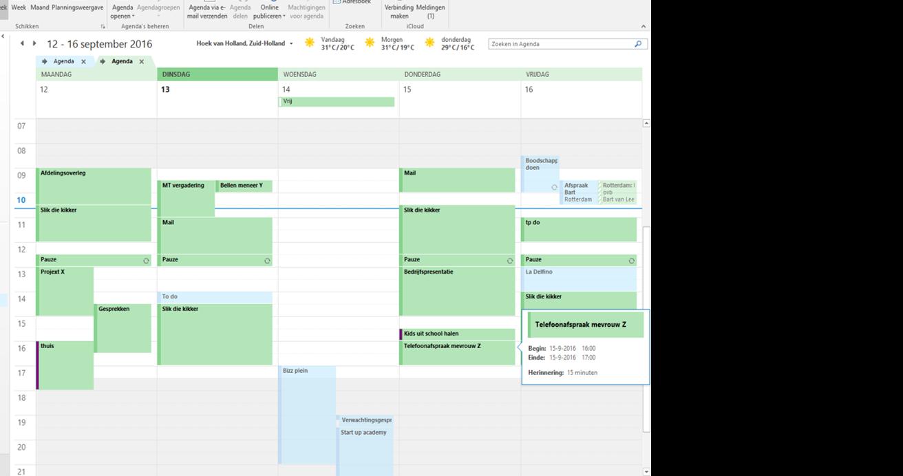 Voorbeeld van een te volle agenda voor 4 daagse werkweek