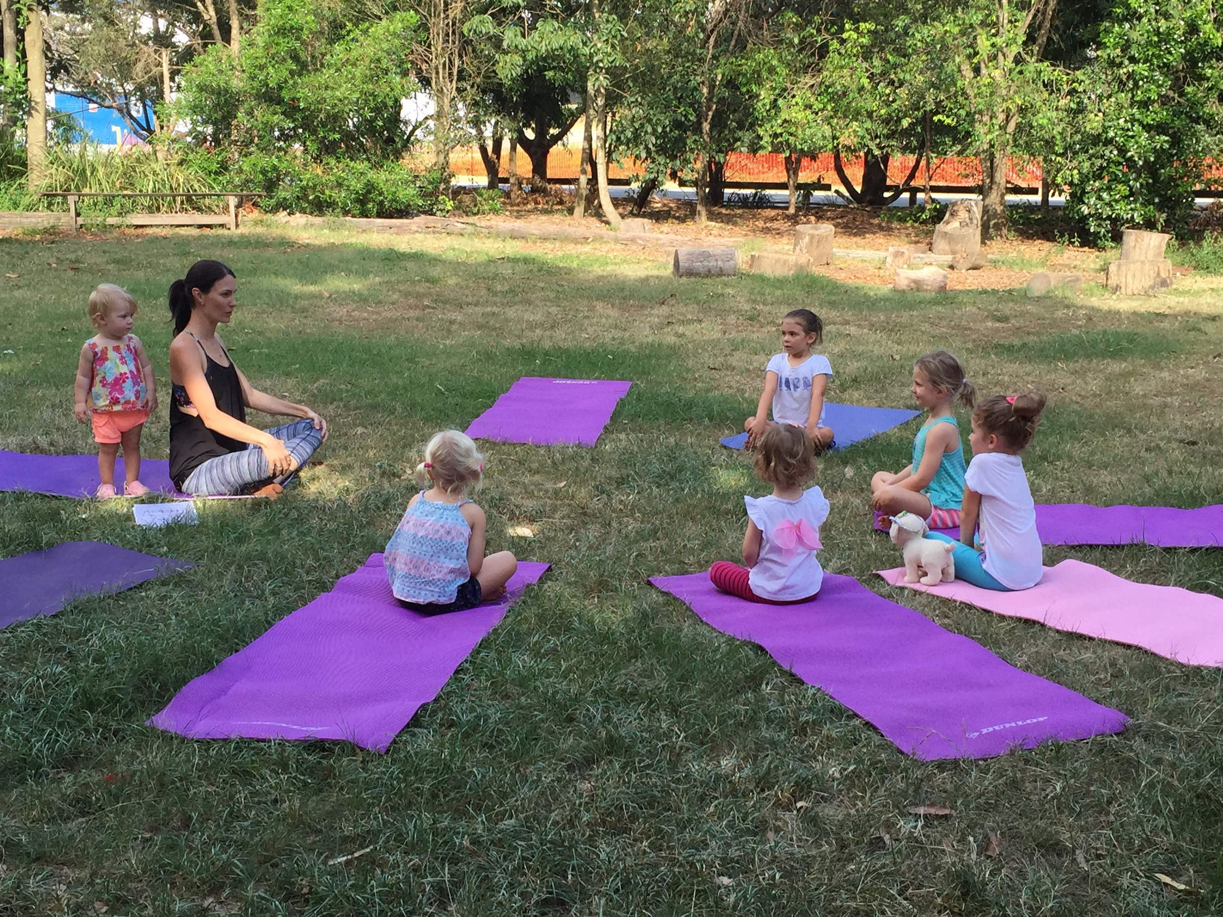 Yoga class begins - lots of concentration!