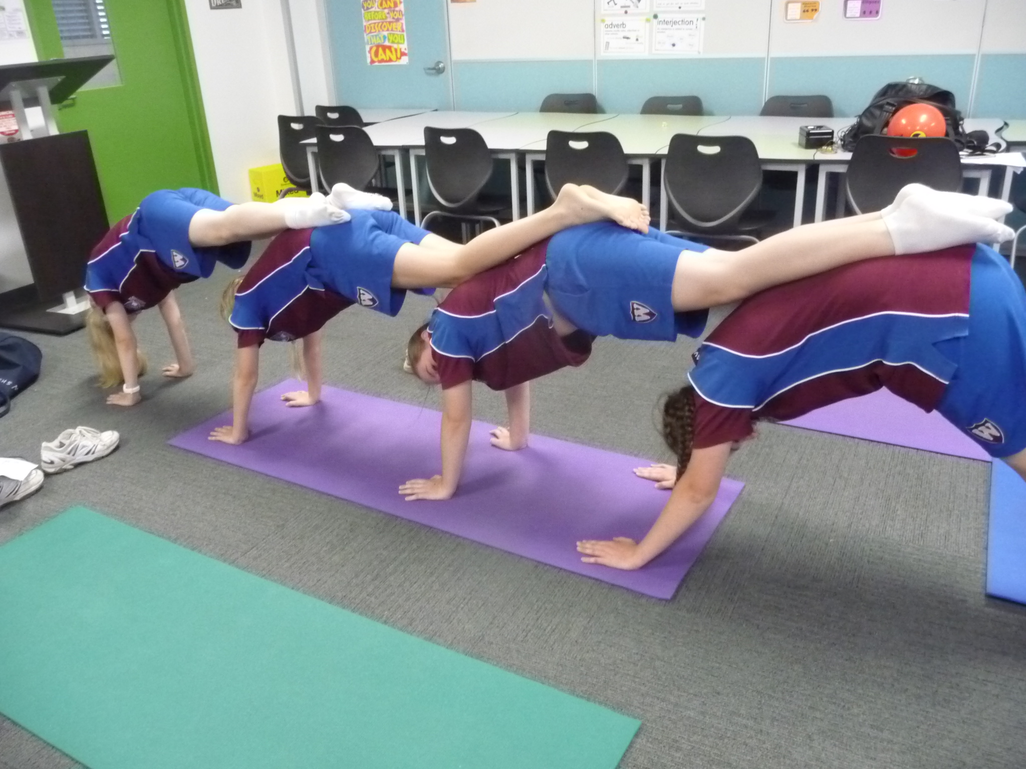 Quadruple downward dog - go girls!!