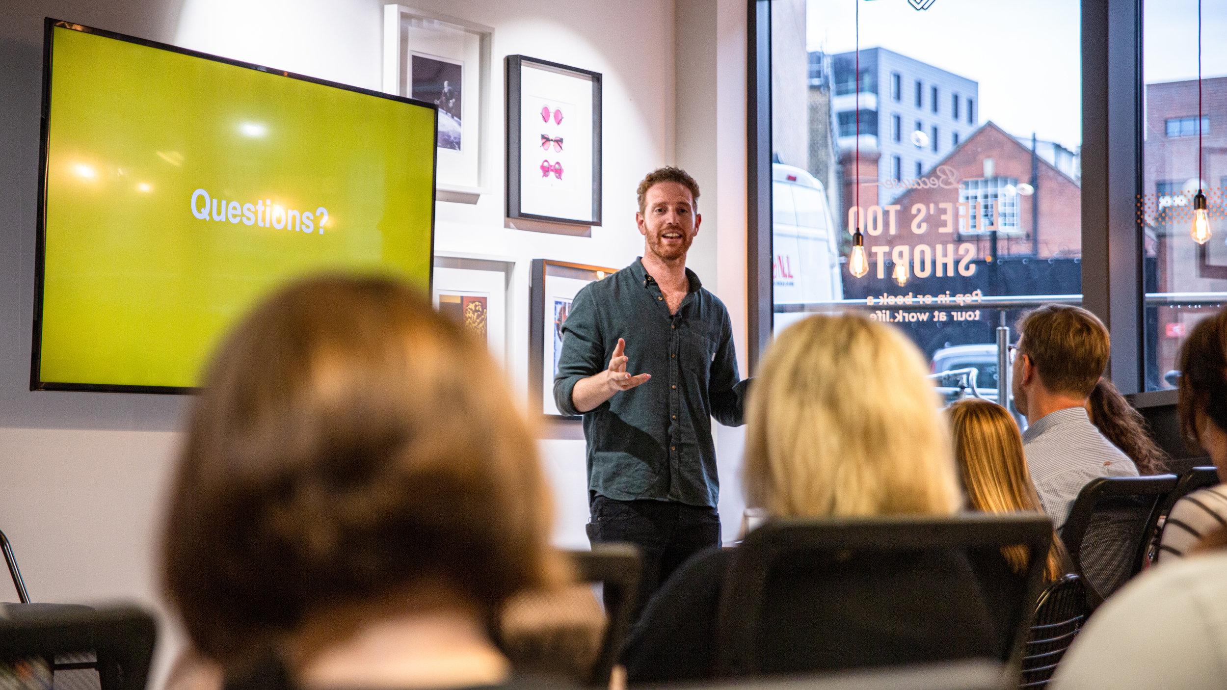 Josh Fineman, Mattr Media Co-Founder rounding up the night