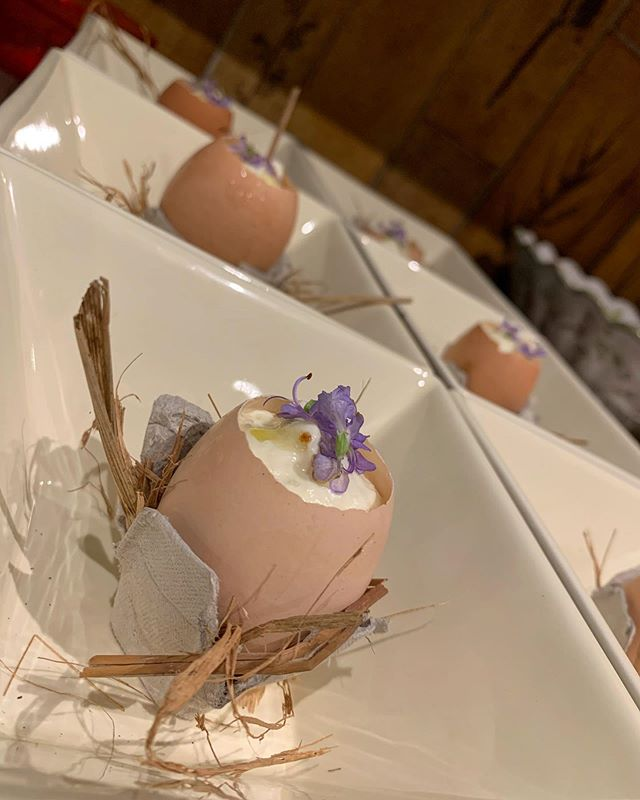 Garden Egg Amuse  La Grand Mar Villa  Hot&Cold  Local olive oil + local honey Garden Rosemary Blossom  Garden lemon signature jam espuma  Runny egg yolk of the day from the garden chicken!