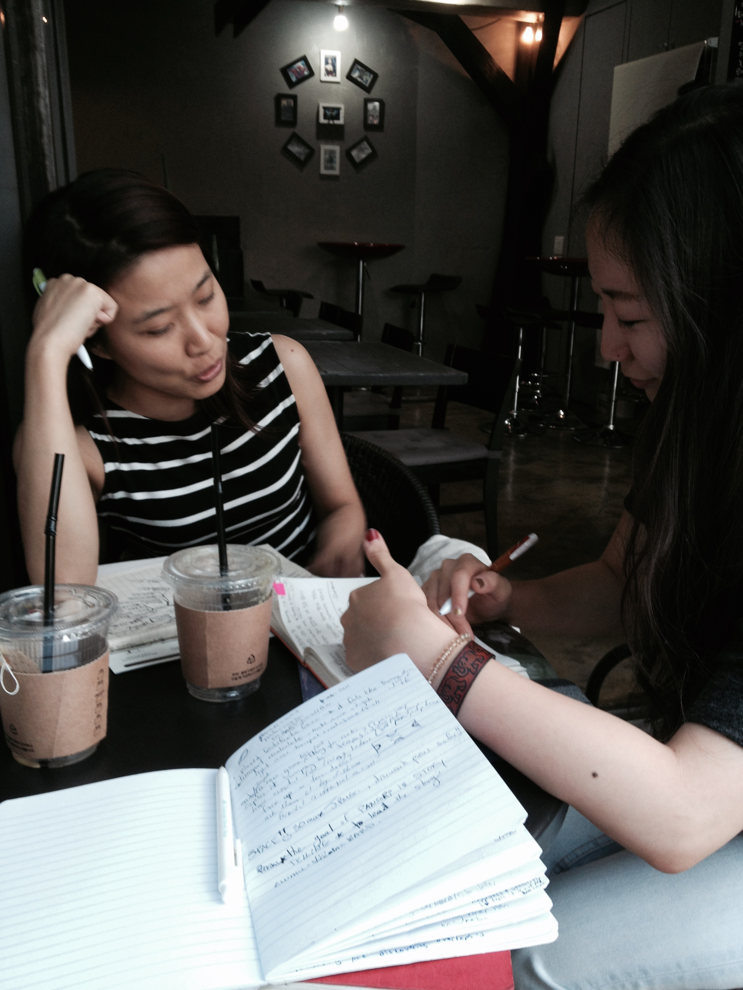 How do all the pieces fit? Story discussion over tea with Bora and Haeweon