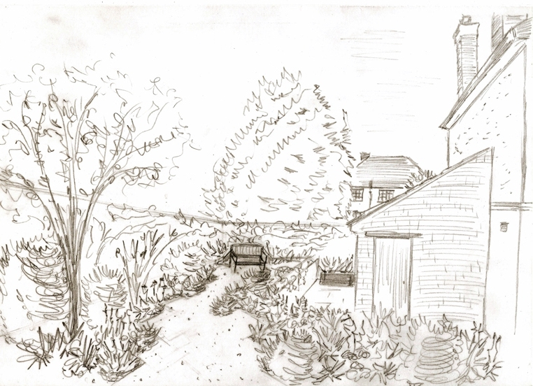 Proposed back garden - view of gravel garden Leatherhead design project.jpg