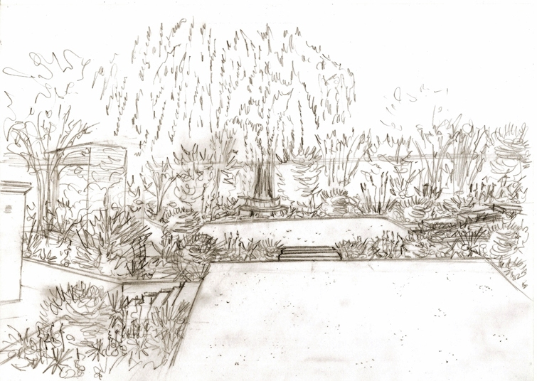 Proposed garden design for Leatherhead project - view of Willow tree.jpg