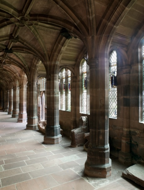 The ancient monastic cloister at Chester Cathedral
