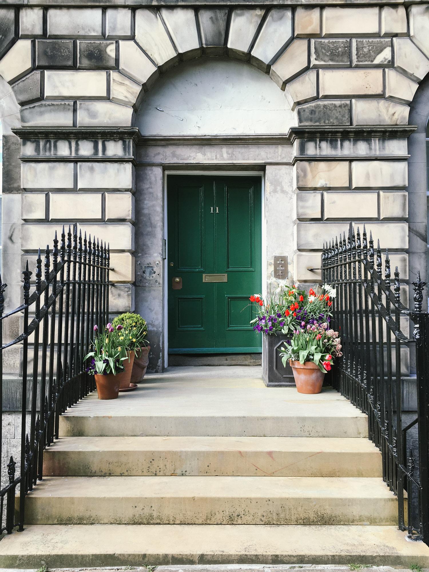 Pretty doorstep gardens in Edinburgh's New Town
