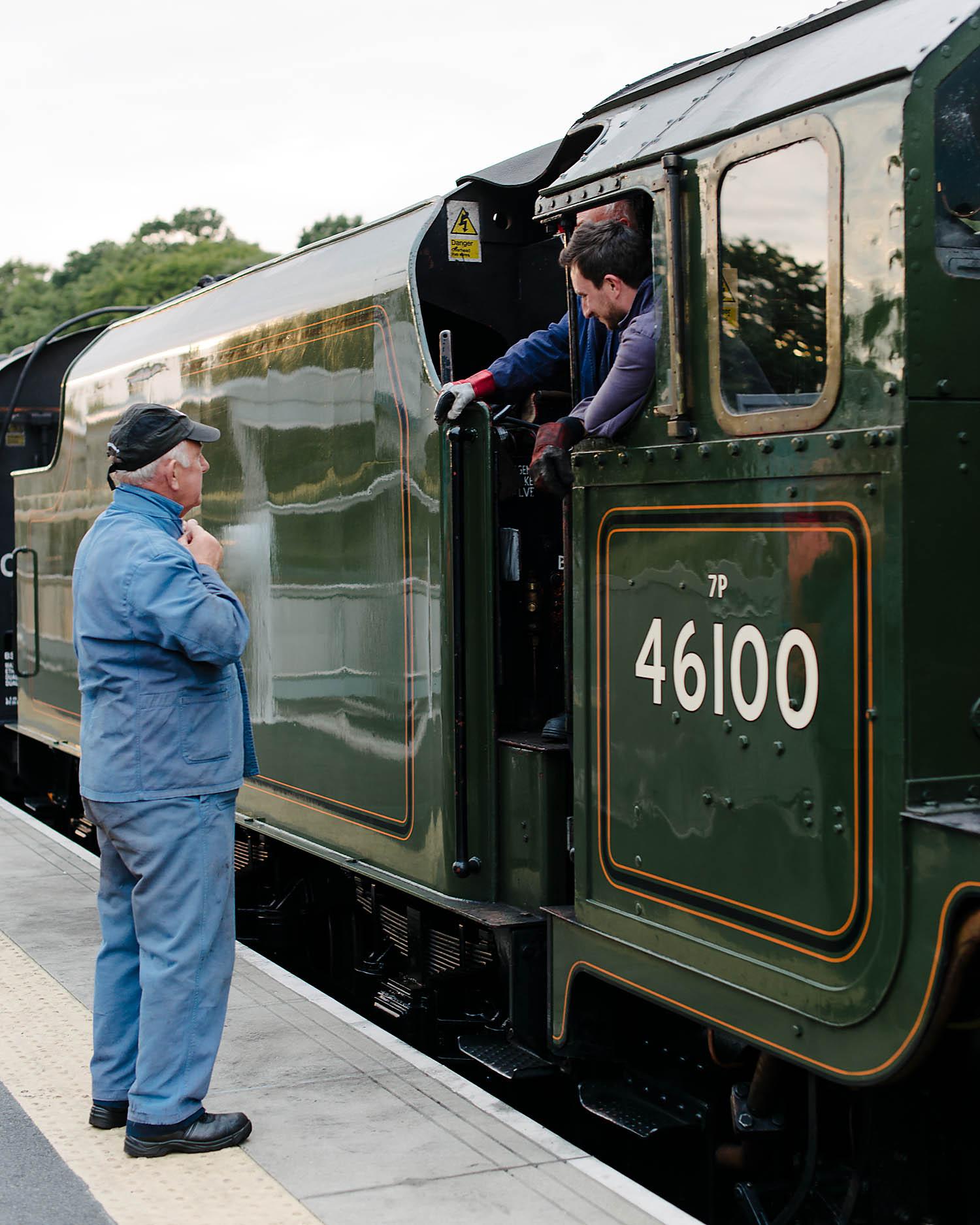 the train crew prepare for the return journey
