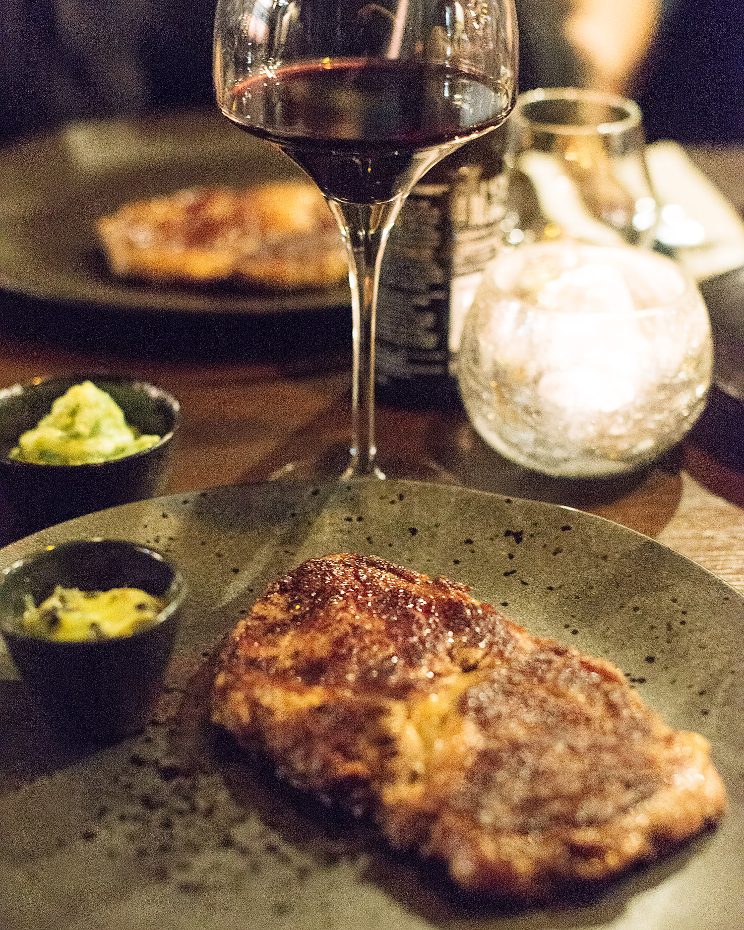 Rib eye steak with truffle butter