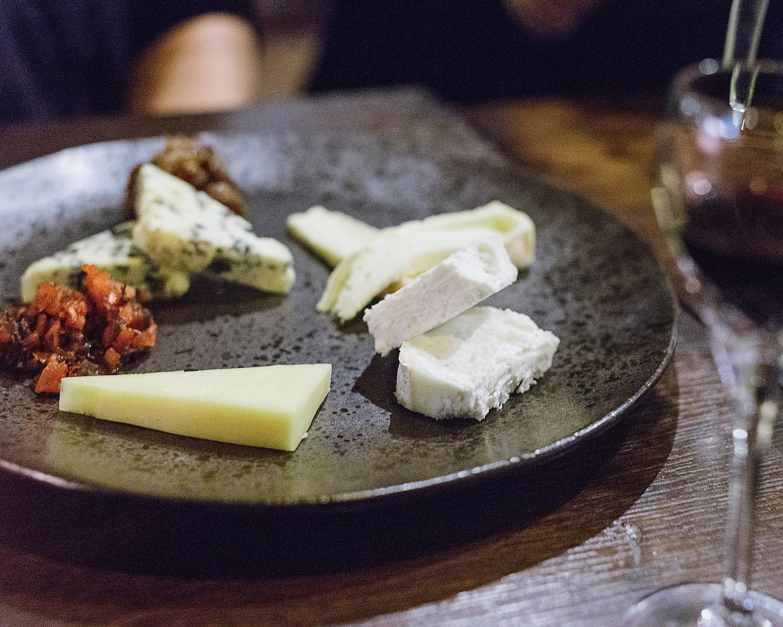 Selection of Scottish cheeses at Rib Aye restarant, Edinburgh