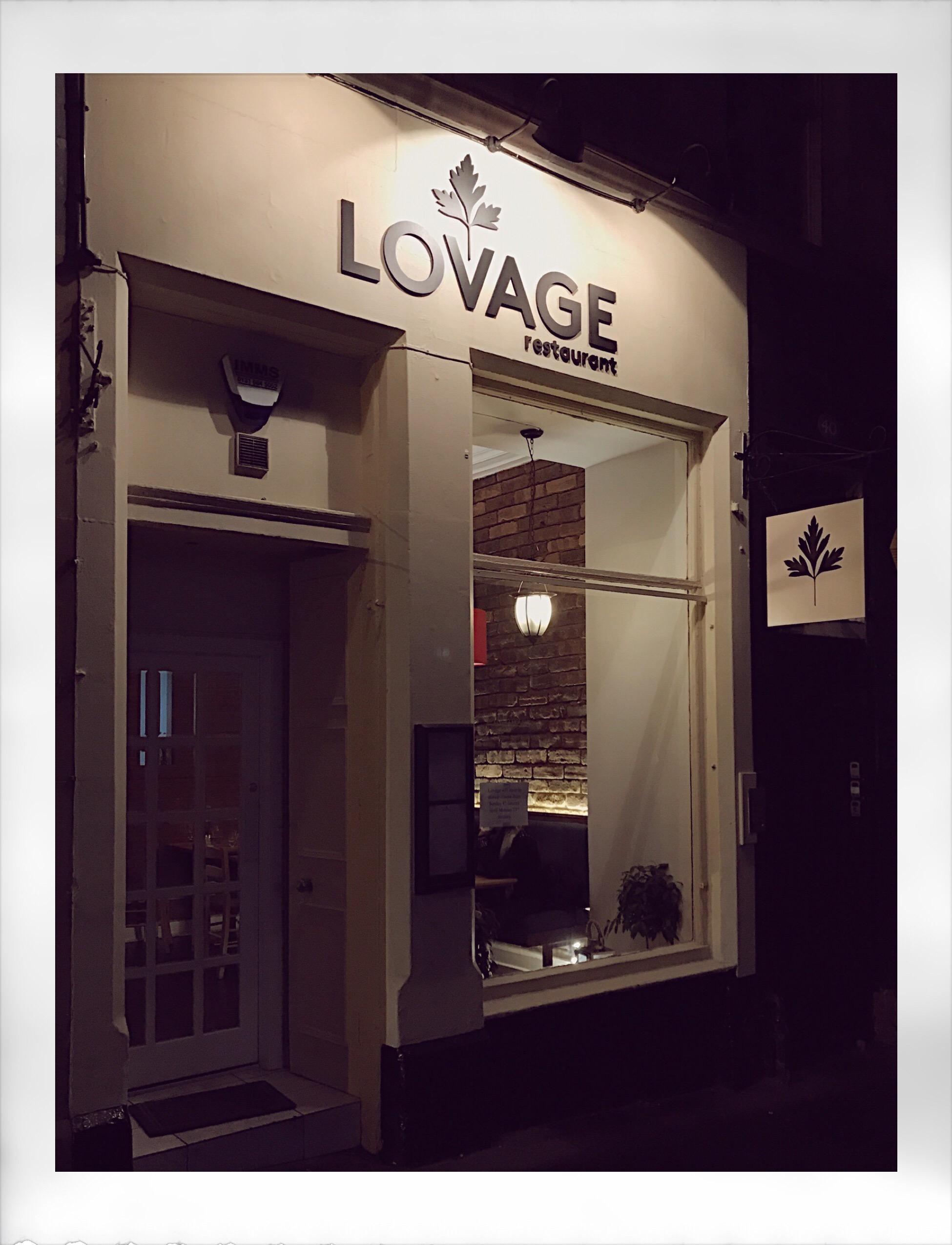 Lovage Restaurant Edinburgh exterior at night