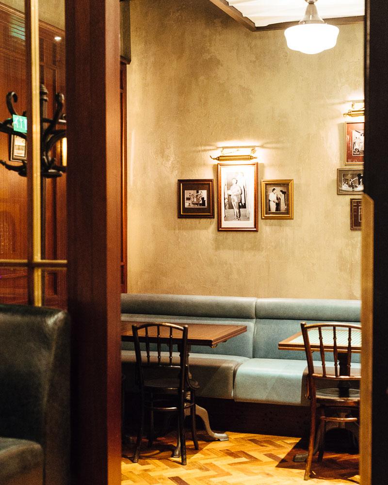 A cosy corner in the permit room bar, Dishoom Edinburgh