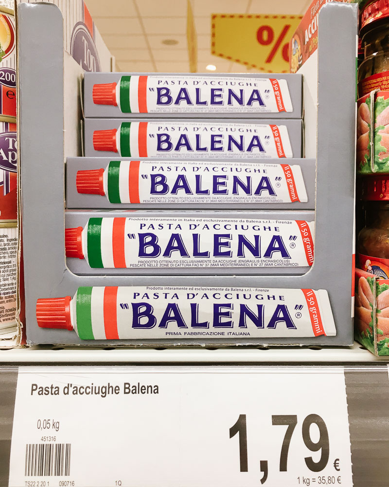 Anchovy paste in tube in an Italian supermarket