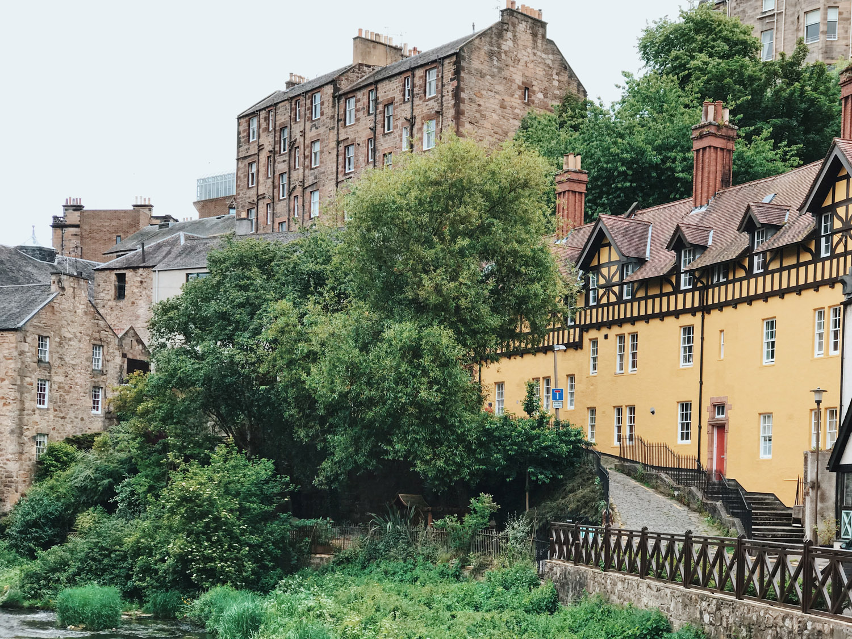 painted houses in the Dean Village, Edinburgh