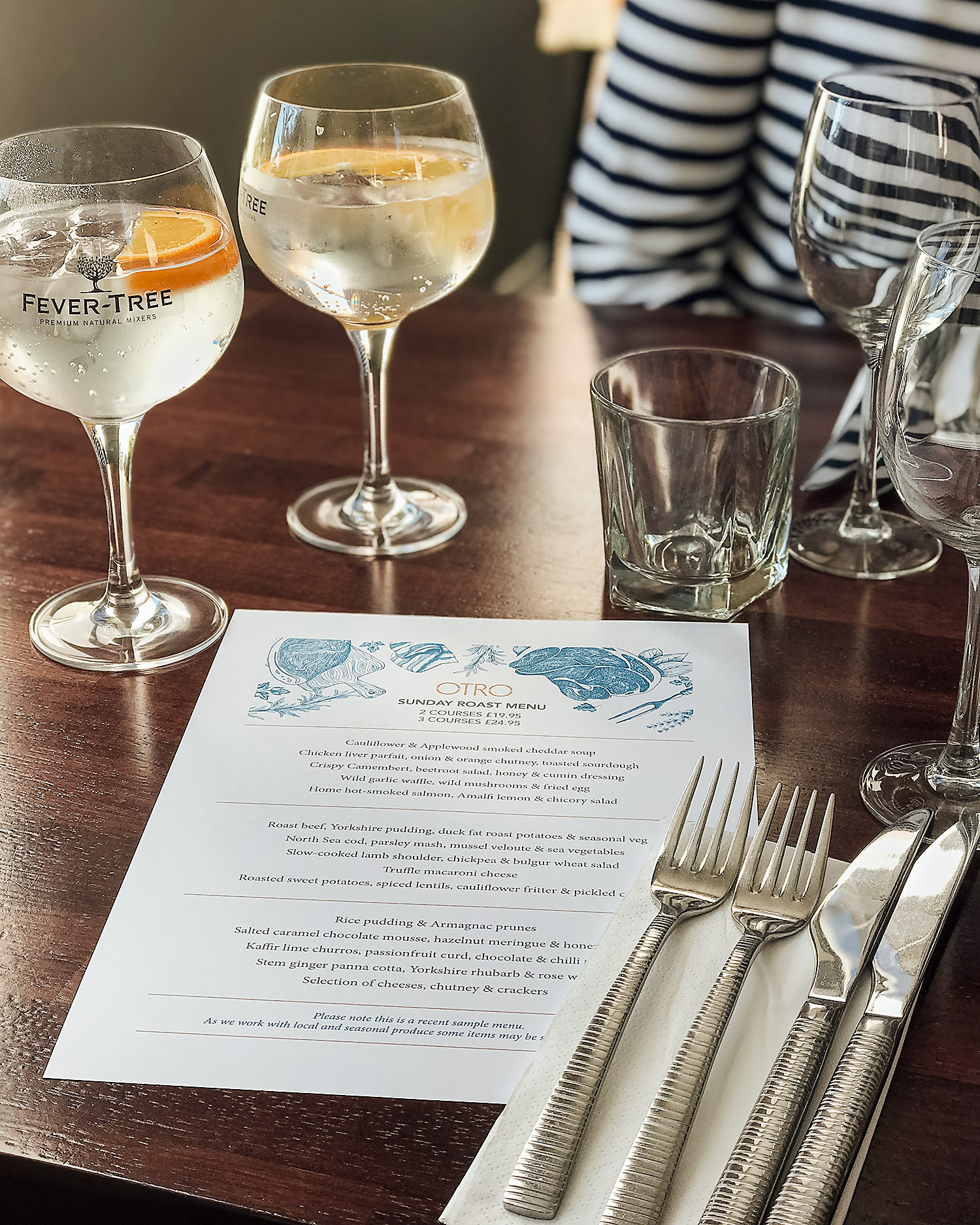 Sunday lunch menu at Otro restaurant Edinburgh