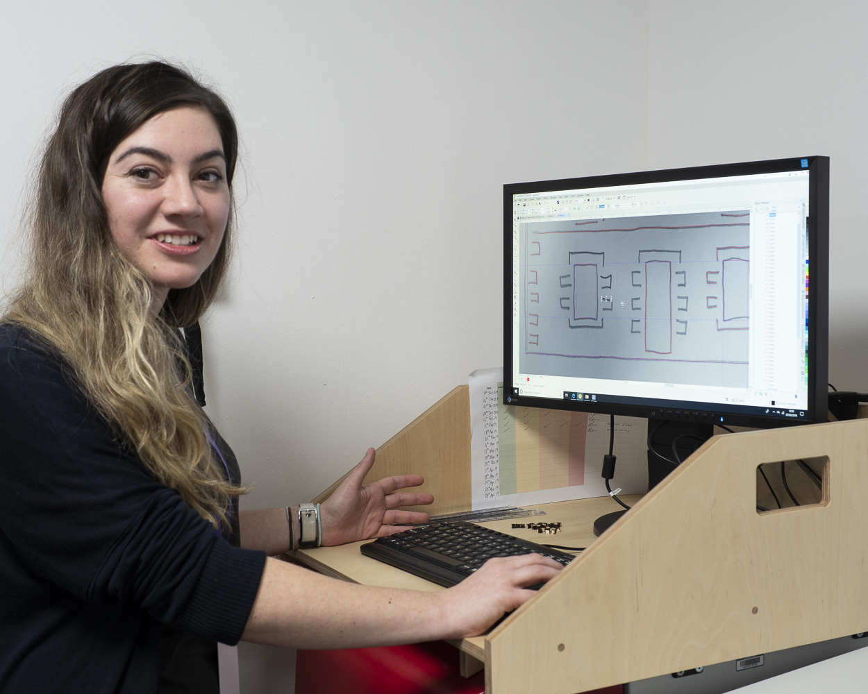 Copy of Hannah prepares the files for laser cutting at Barclays Eagle Lab