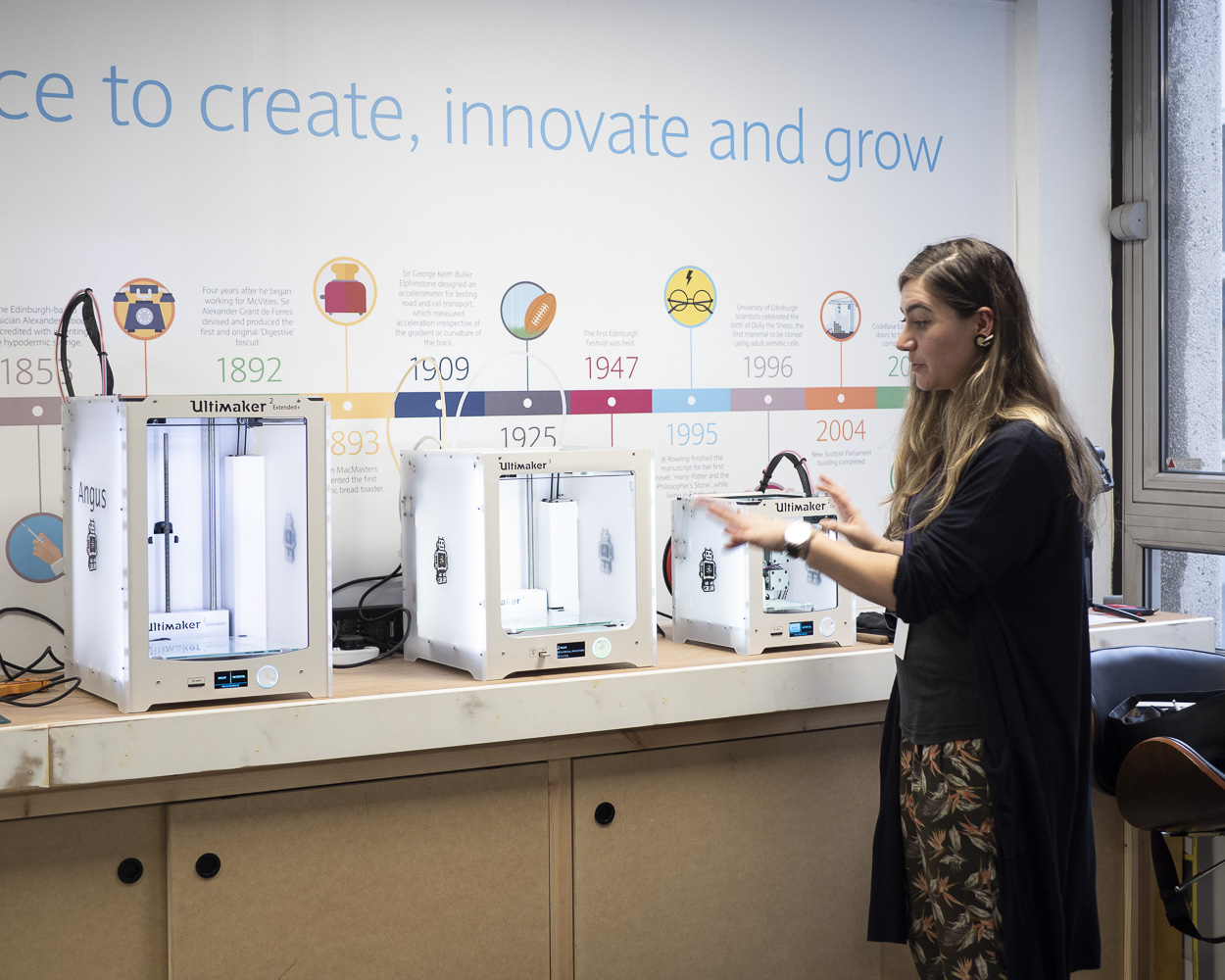 Copy of Demonstrating the 3D printers at Barclays Eagle Lab Edinburgh