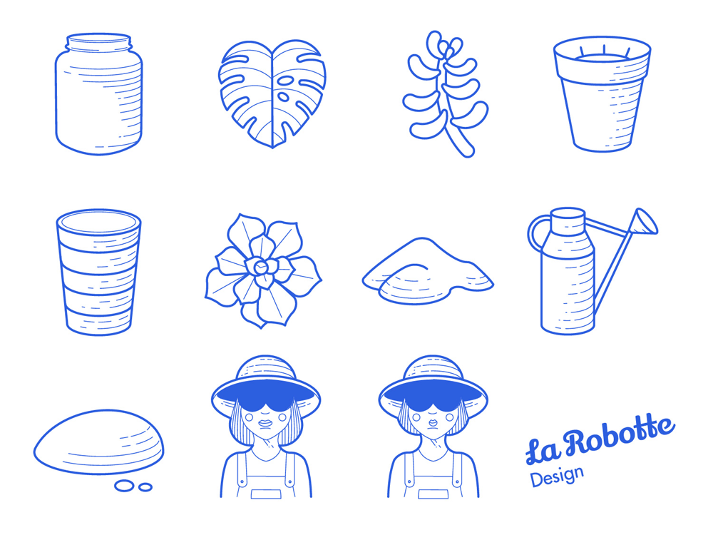 Vector Plant icons - Free   Plant icons for web and mobile interfaces.  More inspirations on www.valeriechauffour.fr/plantsui, Hire me for your mobile app.  La Robotte - UI and UX design.