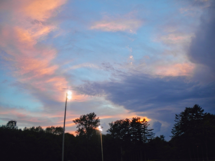 Cotton candy colored skies following a week night softball game