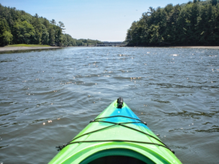 Kayaking down the river on a beautiful day