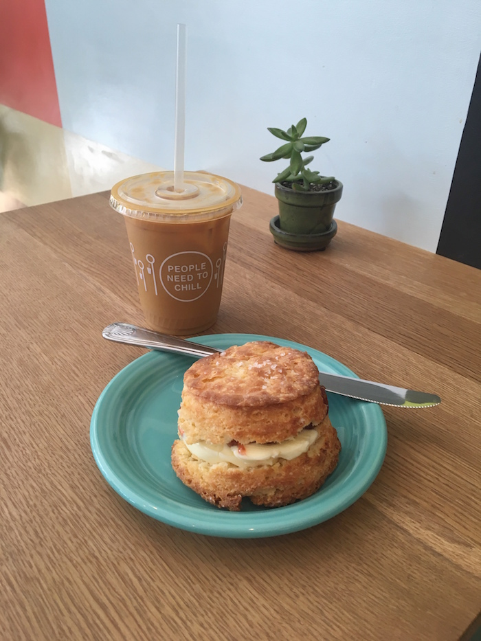 The loaded biscuit and iced coffee at  Tandem Coffee & Bakery