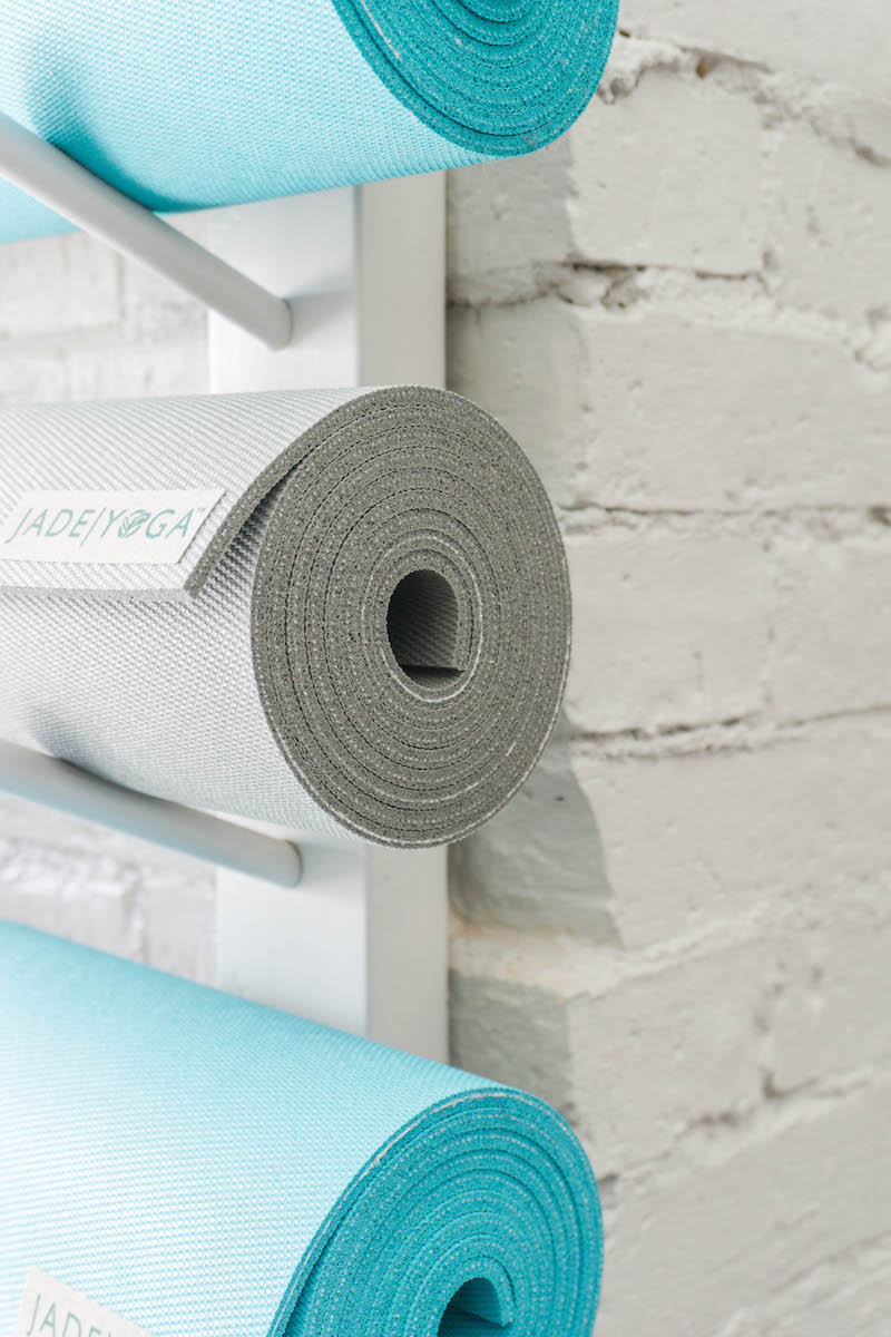 The colors of these  JadeYoga mats  paired with that white brick wall. Gah, I LOVE it soooo much!