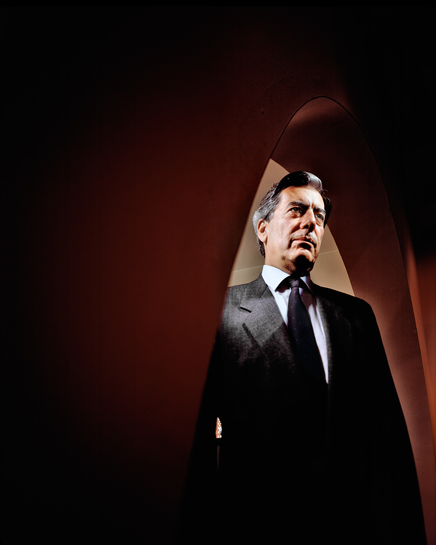 Mario Vargas Llosa, at home, Lima, Peru, 1990, the year he ran for president.