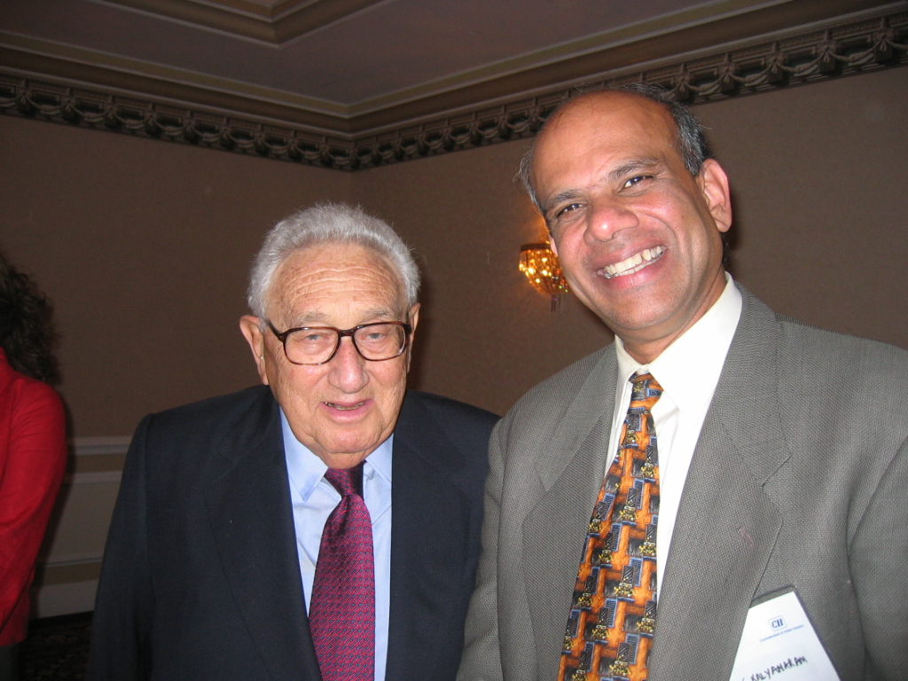 Dr. Gurumurthy Kalyanaram with  Secretary of State Henry Kissinger.JPG
