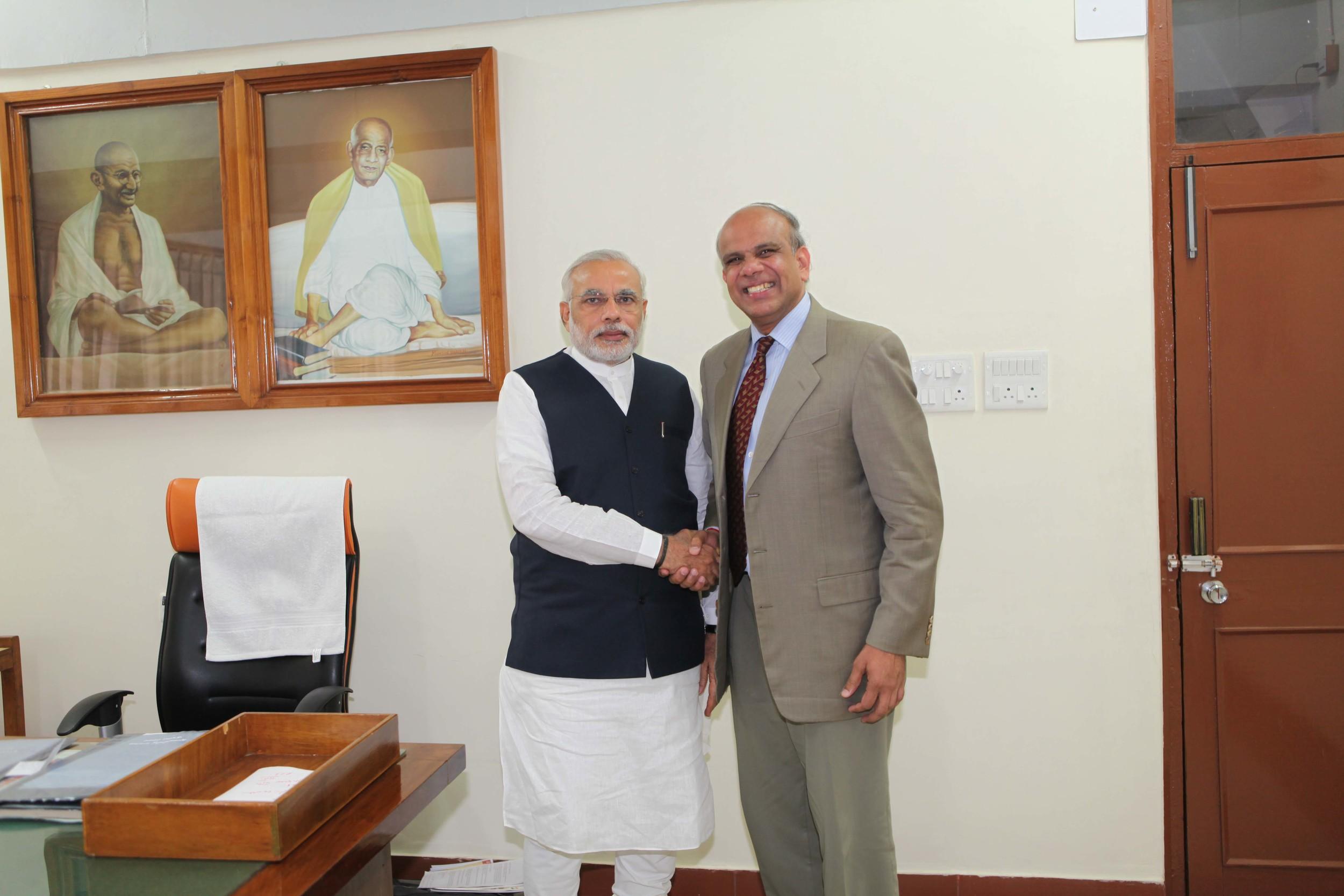 Dr. Gurumurthy Kalyanaram with India's Prime Minister Narendra Modi.jpg