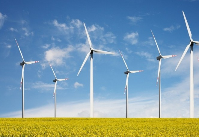 windmills for generating electricity in field
