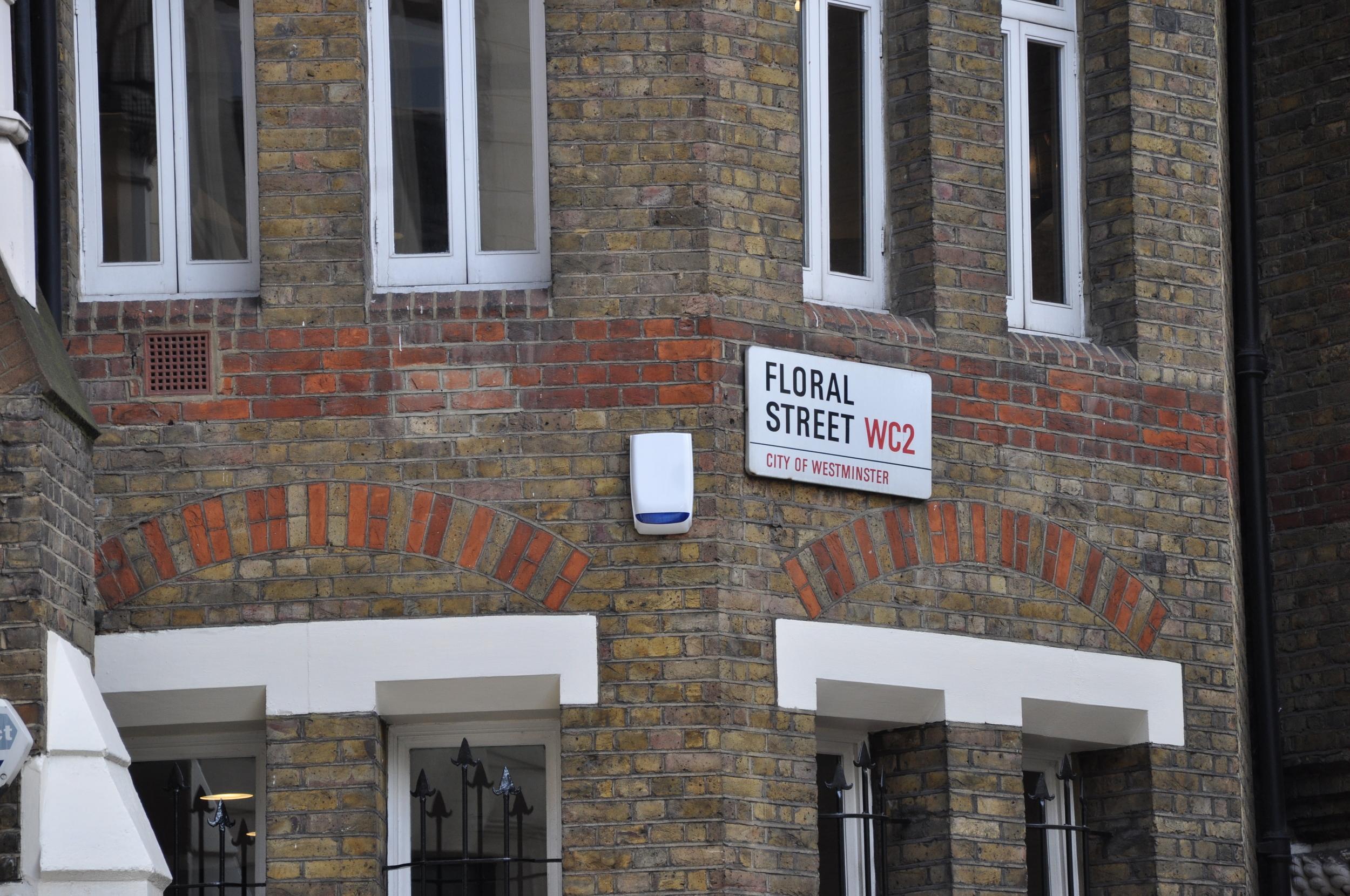 Floral Street sign on corner of building, London
