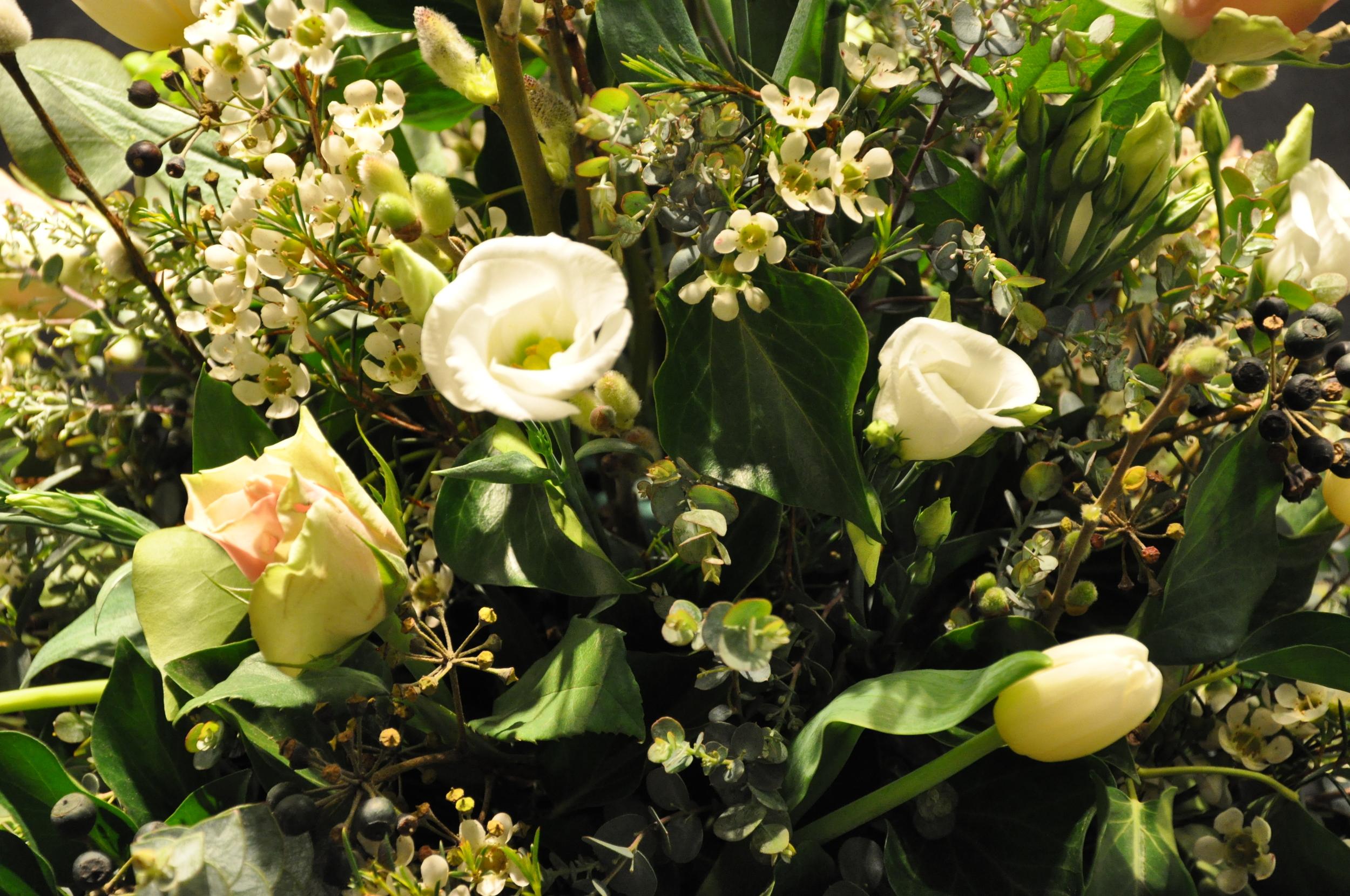 close-up of wedding flower arrangement