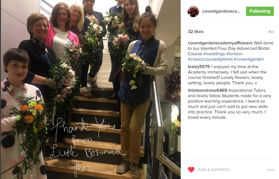 Instagram post from Covent Garden Academy of Flowers showing students holding their bouquets standing on a staircase