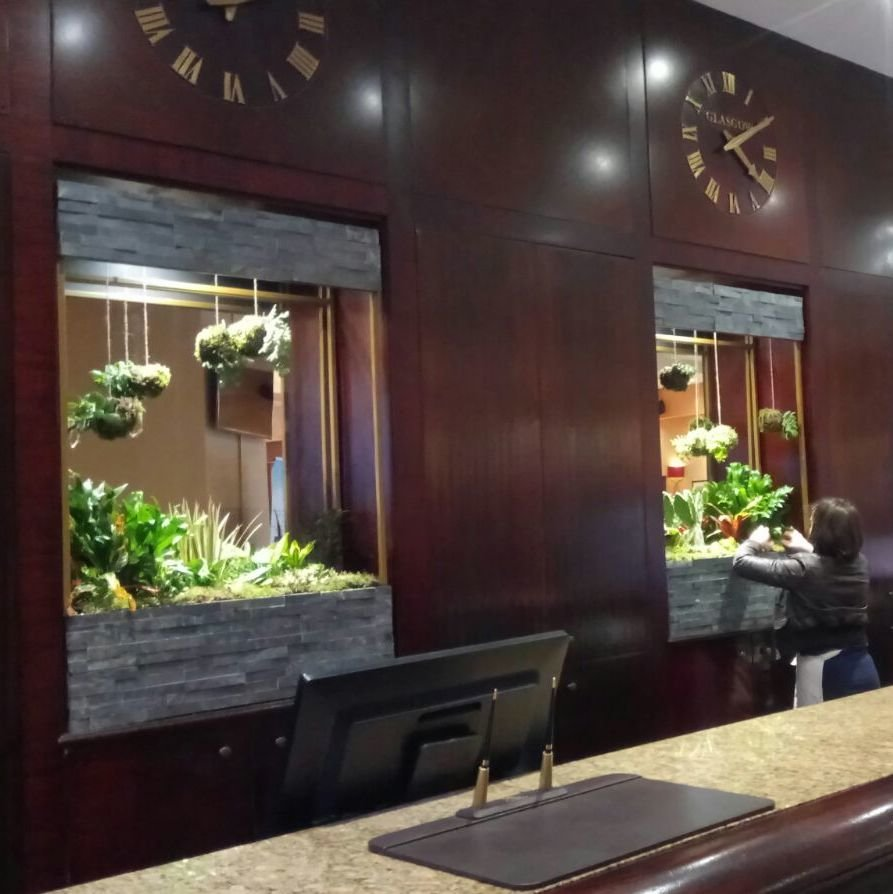 Custom designed and manufactured planters for hotel lobby
