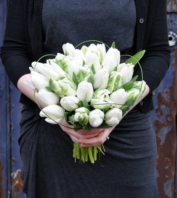 DIY bridal bouquet of white tulips