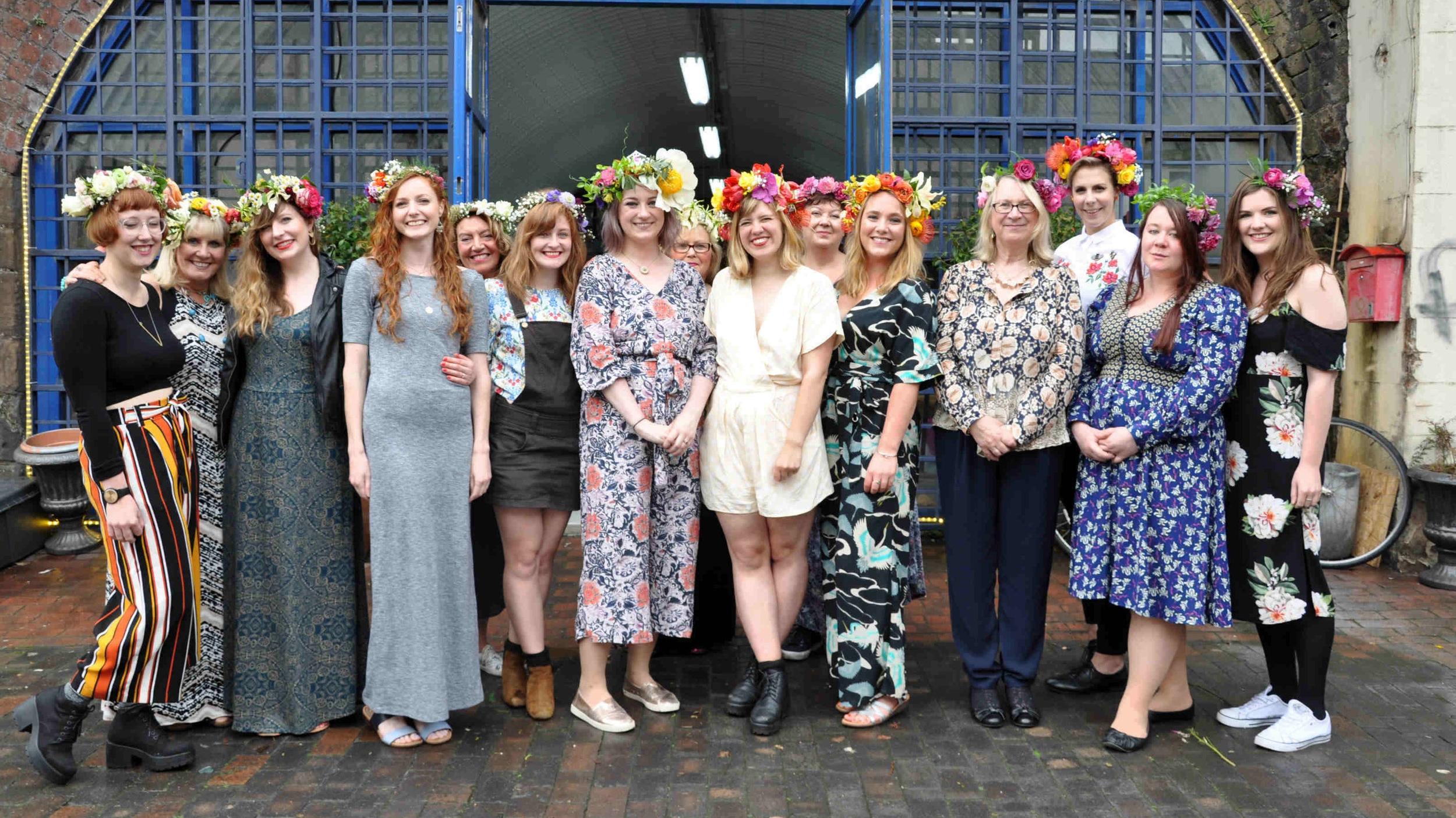 hen party wearing flower crowns
