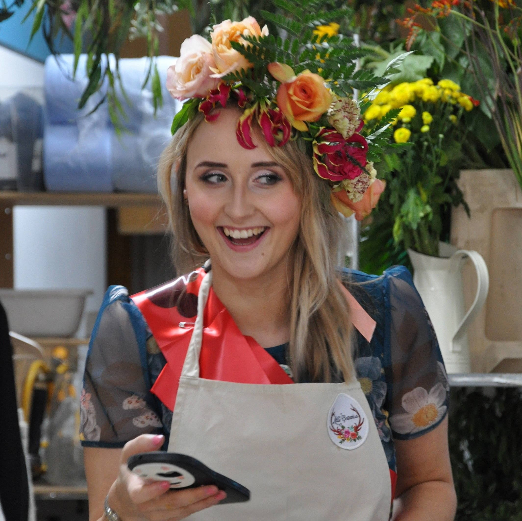 Woman wearing flower crown