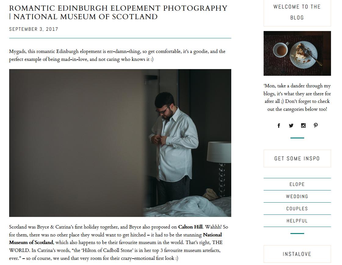 Screenshot of Jo Donaldson blog with Little Botanica flowers at wedding elopement at National Museum of Scotland
