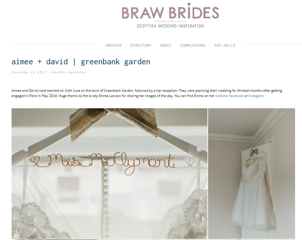 Little Botanica Glasgow Wedding Florist featured on Braw Brides Blog