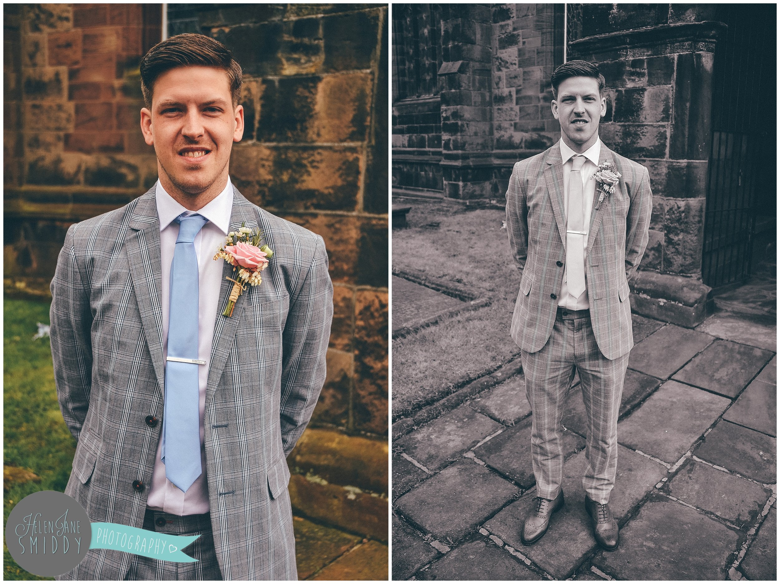 Groom stood outside St Lawrence's church, Frodsham, on the morning of his wedding.
