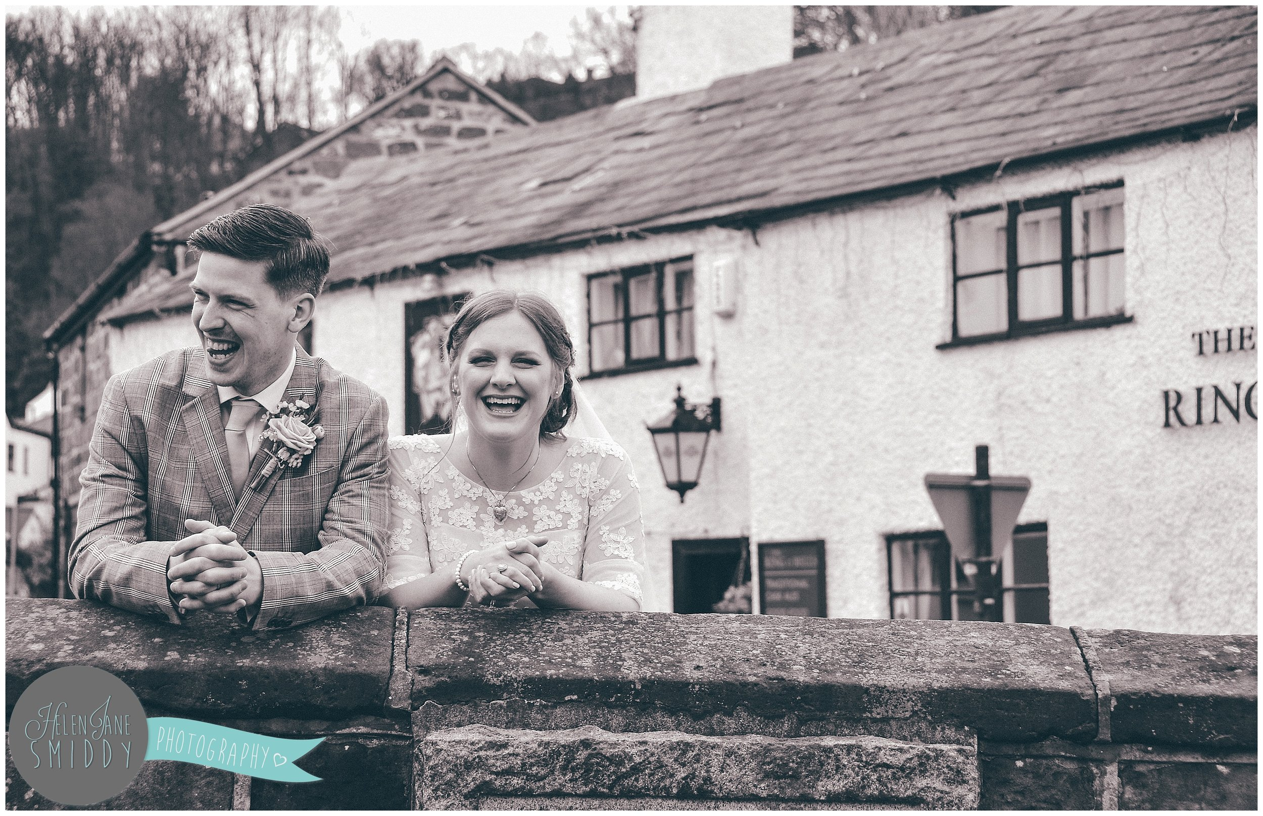 The gorgeous pair stood laughing outside the Ring O' Bells, in Frodsham.