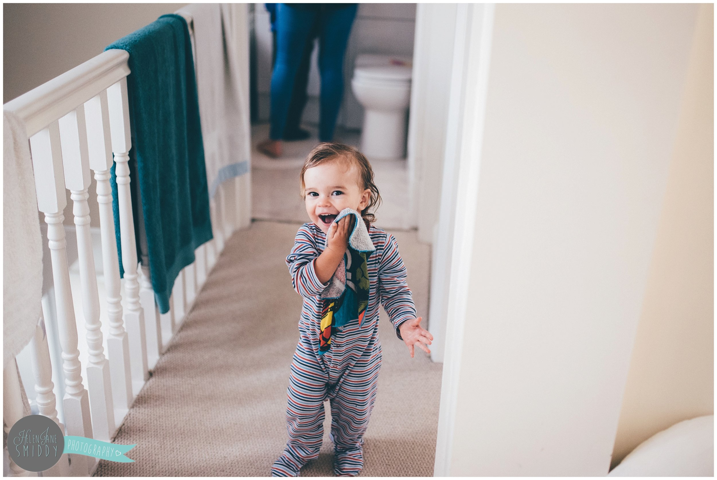 Zoe walks around during their Day In The Life photoshoot in her pjs.