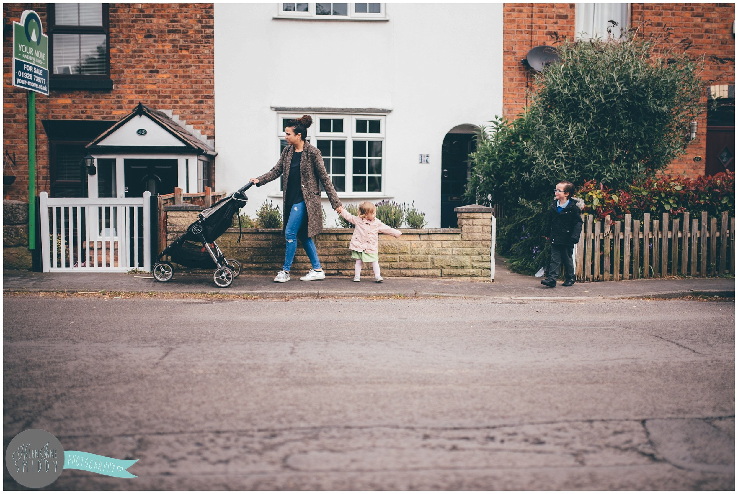 Walking to school during A Day In The Life photoshoot in Frodsham.
