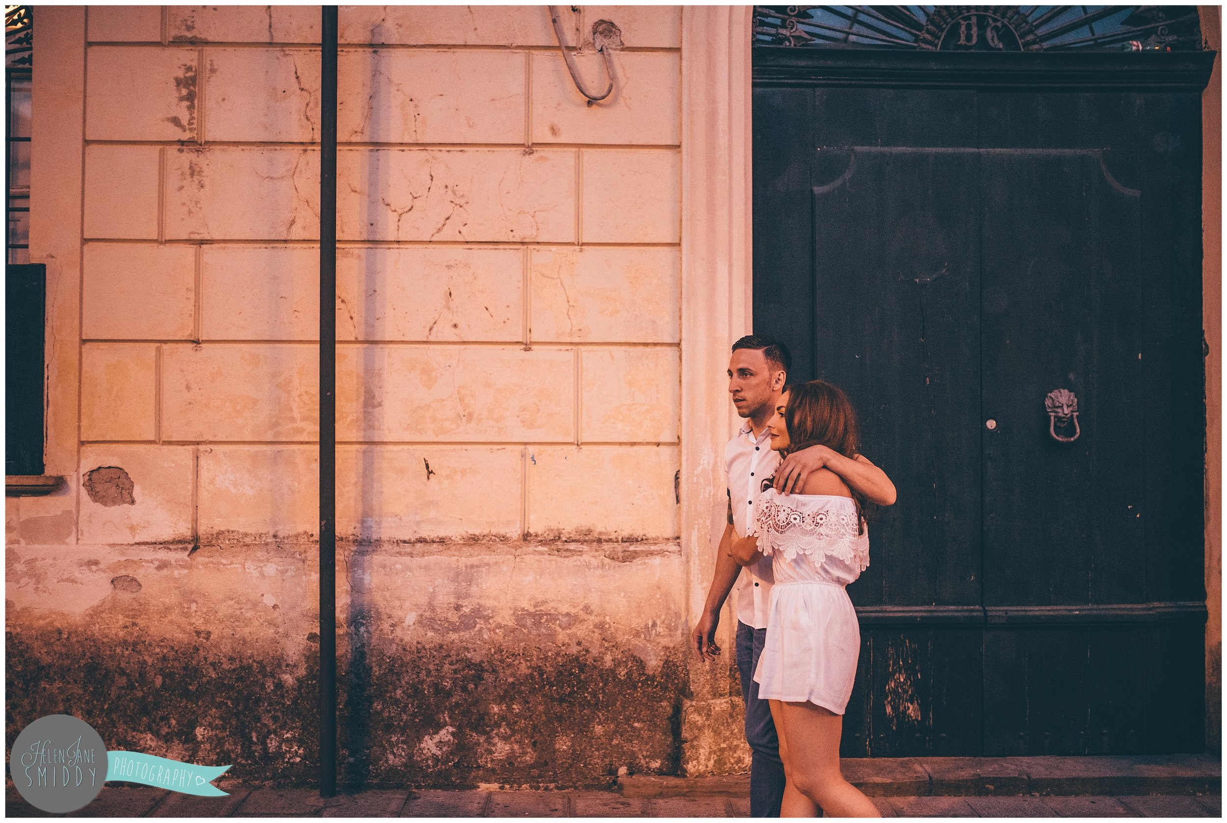 Sabrina and Dom stroll through the streets f Santa Maria di Castellabate for their pre-wedding photoshoot.