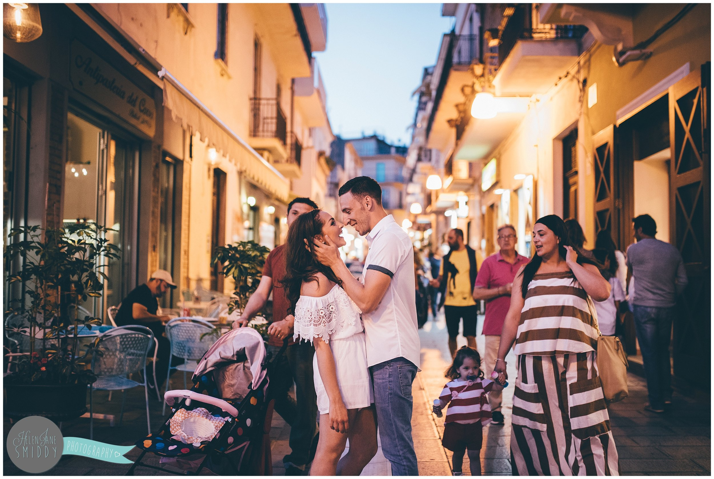 A sunset engagement shoot in a beautiful old Italian town.
