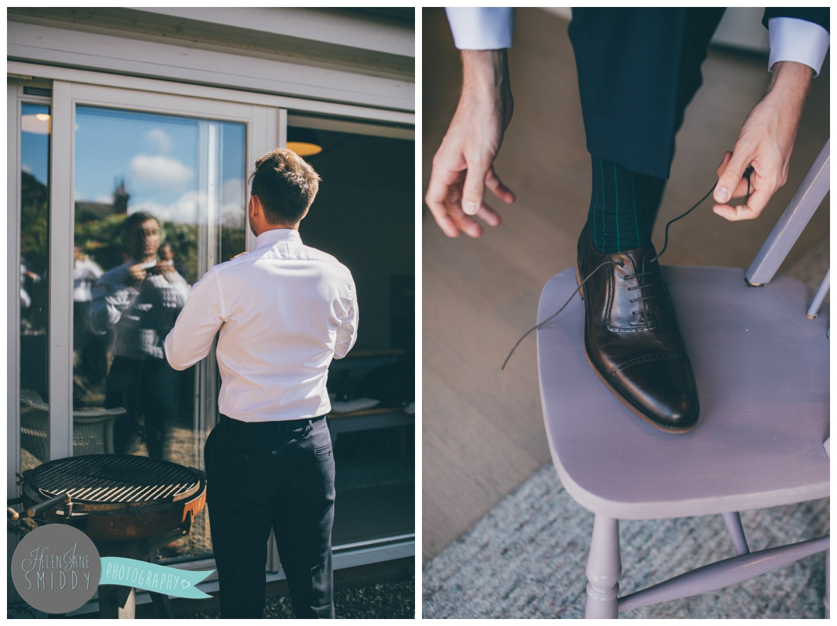 The groomsmen got ready for the Big Day in the September sun.