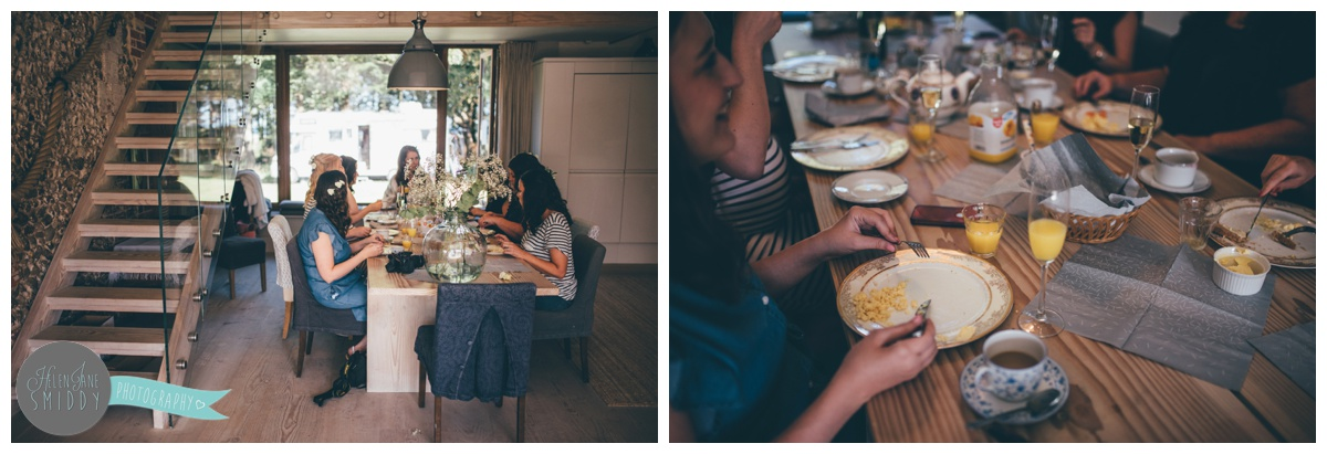 The bride and bridesmaids have breakfast at Barn Drift in Norfolk on the wedding morning.
