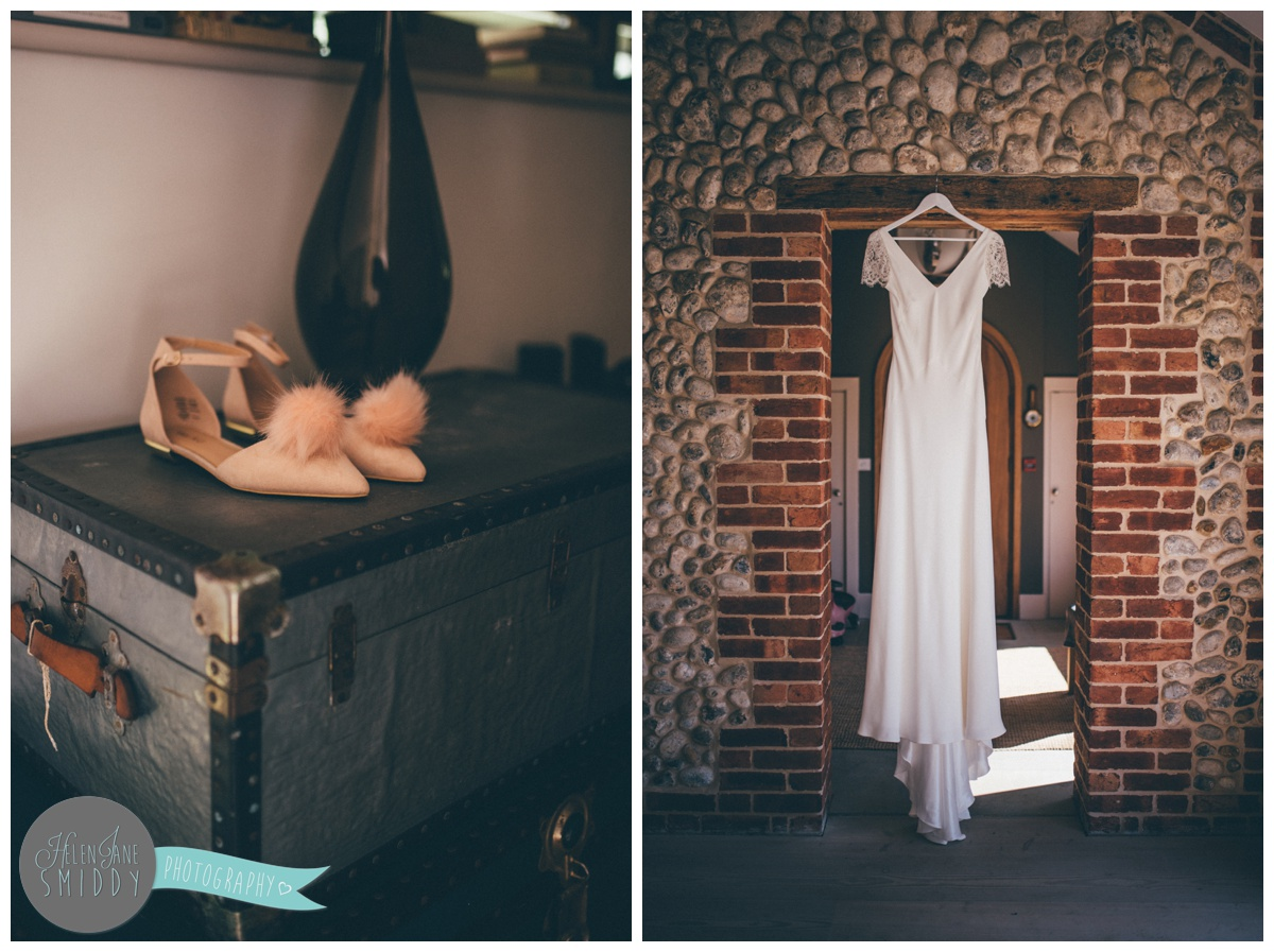 Sarah's fashionable on-trend wedding shoes with pom poms and her stunning bespoke gown.